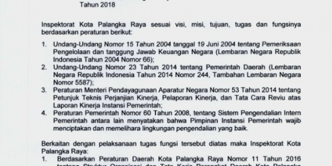 Ikhtisar Laporan Hasil Pengawasan atas Penyelenggaraan Pemerintahan Daerah Kota Palangka Raya Tahun 2018