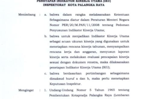INDIKATOR KINERJA INSPEKTORAT KOTA PALANGKA RAYA TAHUN 2019