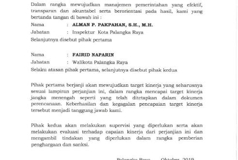 PERJANJIAN KINERJA PERUBAHAN INSPEKTORAT KOTA PALANGKA RAYA TAHUN 2019